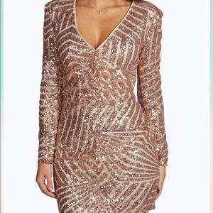 Boohoo gold sequin mini dress shoulder pads med